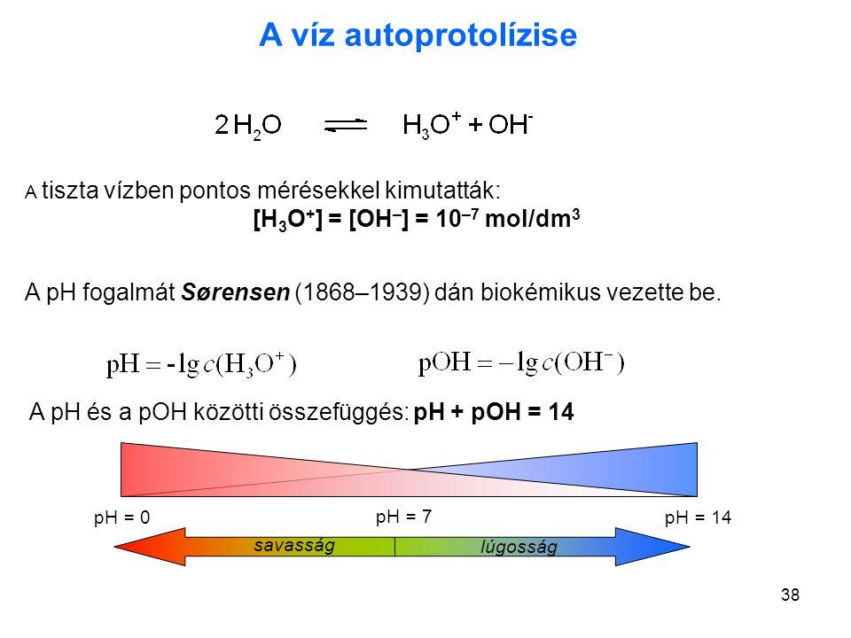 A víz autoprotolízise A tiszta vízben pontos mérésekkel kimutatták: [H3O+] = [OH–] = 10–7 mol/dm3.